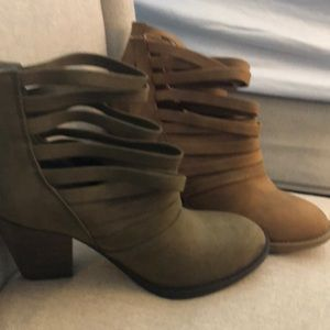 Healed cut out booties! BOTH PAIRS NEVER WORN!!
